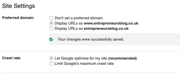 Set preferred domain in Google Search Console